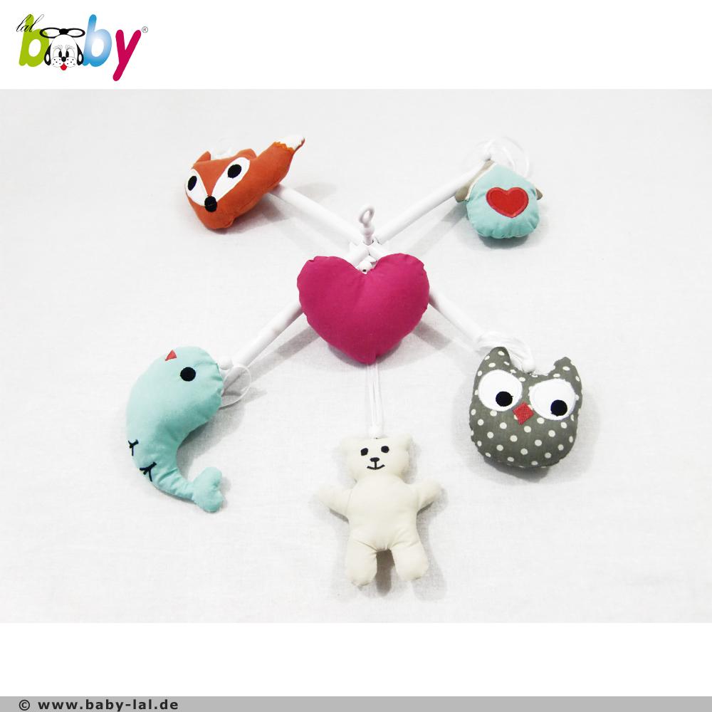 baby lal design online shop f r die baby bettw sche ausstattung mobile mit stange eule fuchs. Black Bedroom Furniture Sets. Home Design Ideas