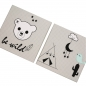 "Preview: ★ 2tlg.-Set: Stoffbild f. Kinderzimmer ""BE-WILD"" in Grau - (L)30 x (B)30cm"