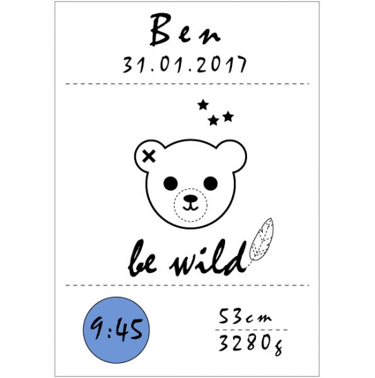 be wild: Kunstdruck | Poster monochrome | Teddy blau